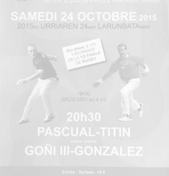 Samedi 24 Octobre 2015 à Ascain, une partie de pelote avec Sébastien Gonzalez