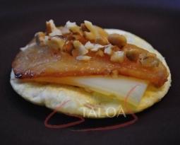 Recette Talo pintxos à la poire et au fromage de brebis ( udalea eta ardi gasna )